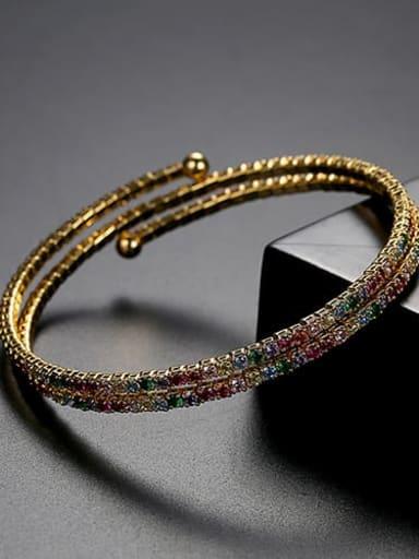 Copper Cubic Zirconia Multi Color Round Luxury Bracelet