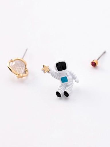 D Transparent  Planet Zinc Alloy  Enamel Cute  Planet Universe Astronaut Stud Earring