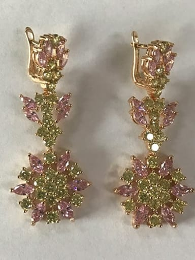 Pink champagne gold t05b11 Copper Cubic Zirconia Flower Luxury Chandelier Earring