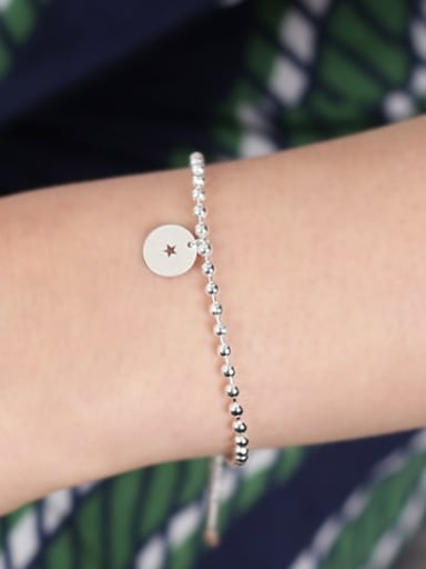925 Sterling Silver Star Minimalist Beaded Bracelet