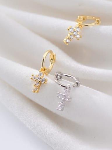925 Sterling Silver Cross Trend Huggie Earring
