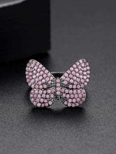 Gun black Copper Cubic Zirconia Butterfly Cute Free Size Band Ring