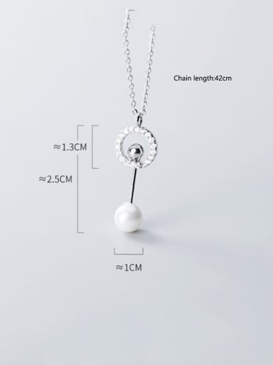 925 Sterling Silver Simple Diamond Ring Personalized Shell Bead Pendant Necklace