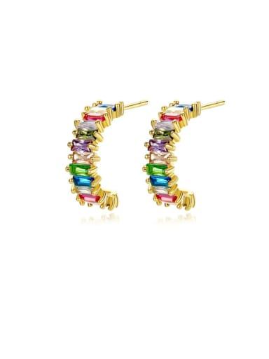 Copper Cubic Zirconia Multi Color Geometric Dainty Stud Earring