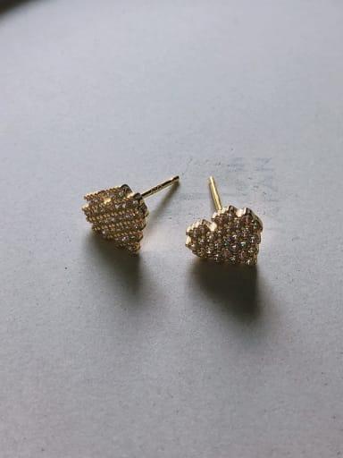 In c613 925 Sterling Silver Cubic Zirconia White Heart Cute Stud Earring