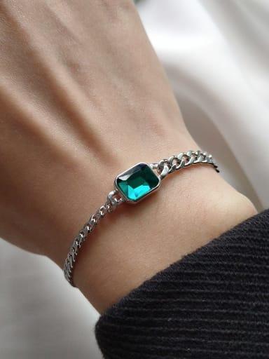 925 Sterling Silver Cubic Zirconia Green Geometric Trend Link Bracelet