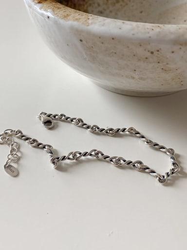 925 Sterling Silver Vintag eIrregular  Link Bracelet