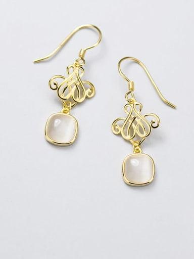 925 Sterling Silver Cats Eye White Irregular Minimalist Hook Earring
