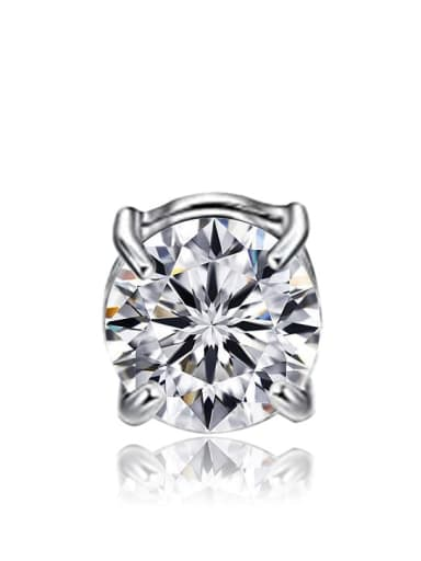 platinum single Titanium Rhinestone Multi Color Square Minimalist Stud Earring  No piercings