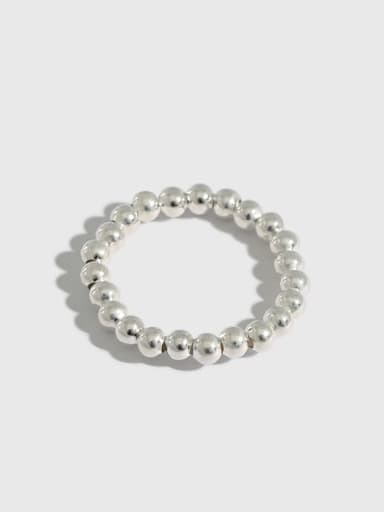 925 Sterling Silver Bead Round Vintage Band Ring