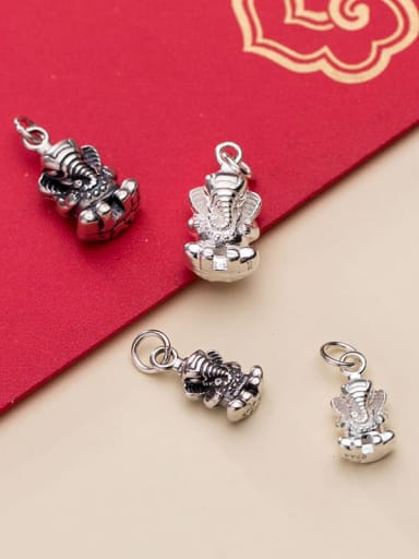 925 Sterling Silver With Hollow Elephant Pendant Diy Accessories
