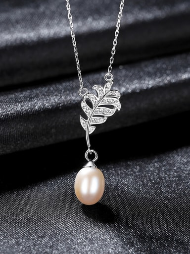 White 7A04 925 Sterling Silver Freshwater Pearl Leaf Luxury Necklace
