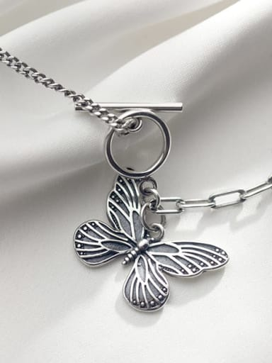 ot Button Butterfly Necklace 925 Sterling Silver Butterfly Vintage Necklace