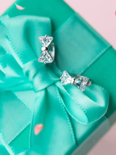 925 Sterling Silver Cubic Zirconia White Bowknot Cute Stud Earring