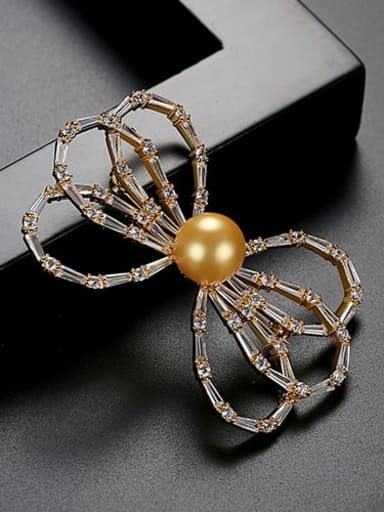 Gold T15H13 Copper Cubic Zirconia White Butterfly Cute Brooch