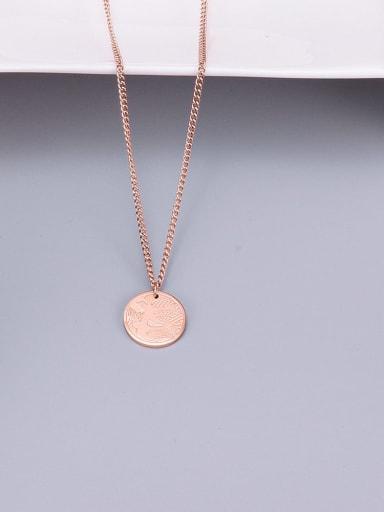 Rose Gold Titanium Simple Laser Flying Bird  Necklace