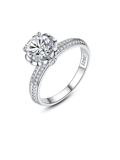 925 Sterling Silver Cubic Zirconia simple flower classic Band Ring