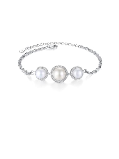 925 Sterling Silver ROUND  Freshwater Pearl Bracelet