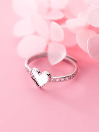 925 Sterling Silver  Heart Minimalist free size Ring
