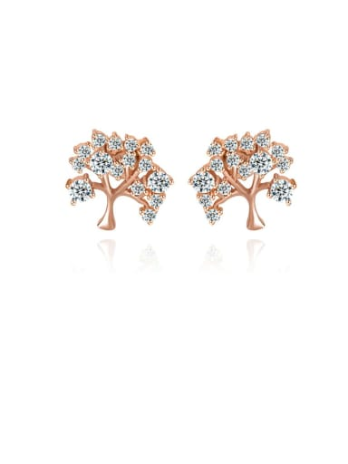 Copper Cubic Zirconia Tree Dainty Stud Earring