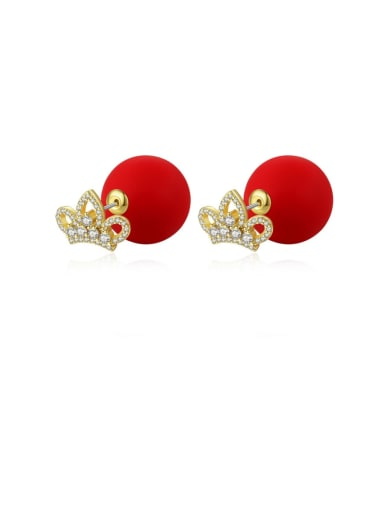 red Copper Cubic Zirconia Minimalist  Round Ball Stud Earring