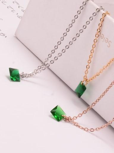 Titanium Cubic Zirconia Green Necklace