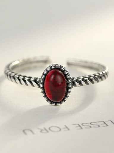 Red 10H04 925 Sterling Silver Oval synthetic crystal Vintage Solitaire Ring