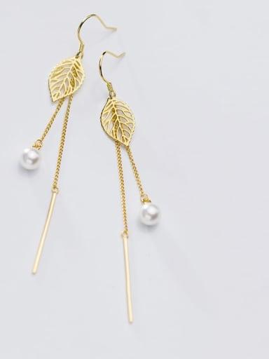 925 Sterling Silver Imitation Pearl Hollow Leaf Minimalist Threader Earring