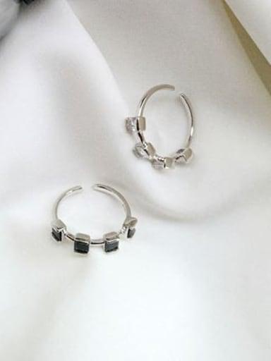 925 Sterling Silver Cubic Zirconia  Square Minimalist Free Size Midi Ring