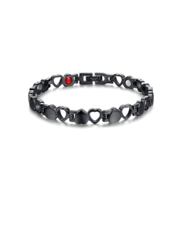 black Stainless Steel With Gun Plated Simplistic Hollow Heart Bracelets