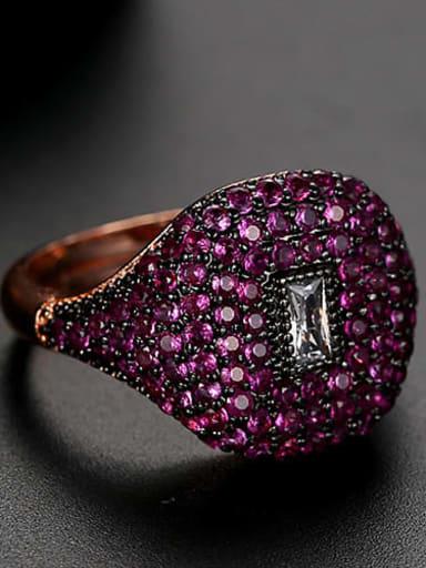Red Copper Rhinestone Geometric Dainty Band Ring