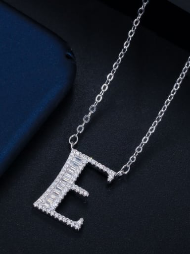 Letter E with chain Copper Cubic Zirconia Message Minimalist letter pendant Necklace
