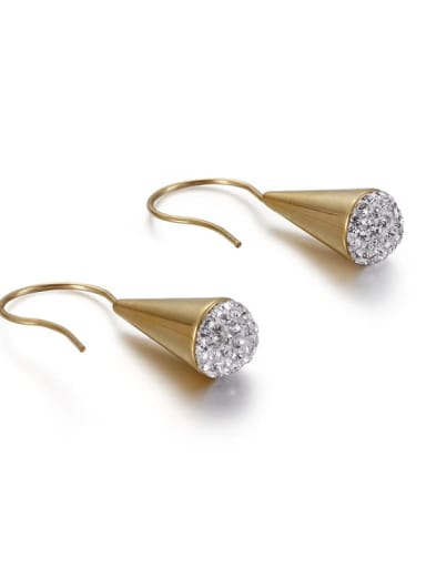 Golden 8mm Stainless Steel Rhinestone White Triangle Minimalist Hook Earring