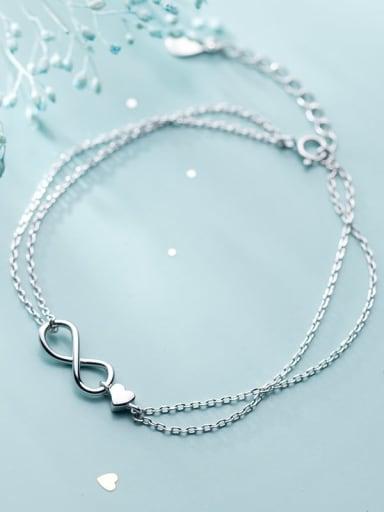 925 Sterling Silver Number Minimalist Strand Bracelet