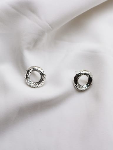 925 Sterling Silver Round Minimalist Stud Earring