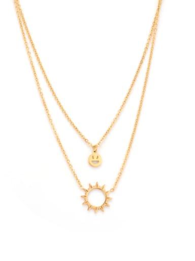 Titanium Hollow Sun Smiley Classic Multi Strand Necklace