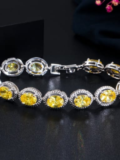 yellow Copper Cubic Zirconia Geometric Minimalist Bracelet