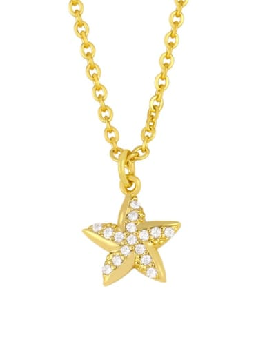 five-pointed star Brass Cubic Zirconia  Hippocampus Vintage pendant  Necklace
