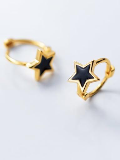925 Sterling Silver Black Enamel Star Minimalist Huggie Earring