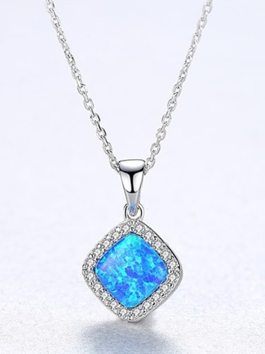 Blue 20F05 925 Sterling Silver Opal Multi Color Simple square pendant  Necklace