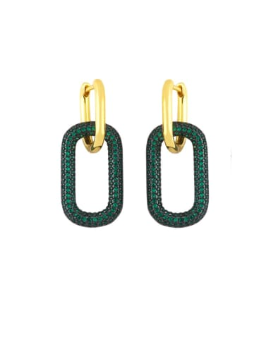 green Brass Rhinestone Geometric Vintage Drop Earring