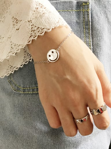 925 Sterling Silver Face smile Bracelet