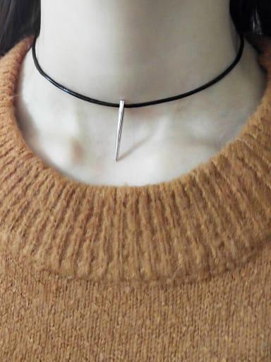 925 Sterling Silver Black Leather Rope  Irregular Minimalist Choker Necklace