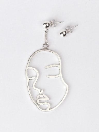 925 Sterling Silver Hollow  Geometric Minimalist Hook Earring