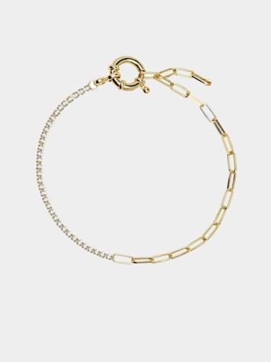 Brass Cubic Zirconia Geometric Dainty Link Bracelet