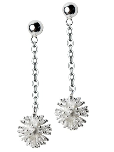 925 Sterling Silver Flower Minimalist Threader Earring