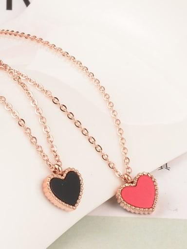 Titanium Enamel Heart Minimalist Necklace