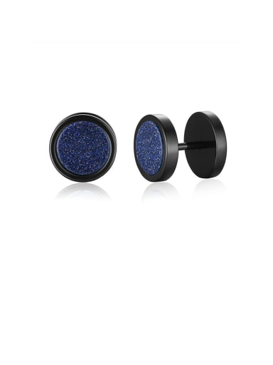 Blue sandstone Stainless Steel With Turquoise Tiger Eye Blue Sandstone Dumbbell Men's Stud Earrings