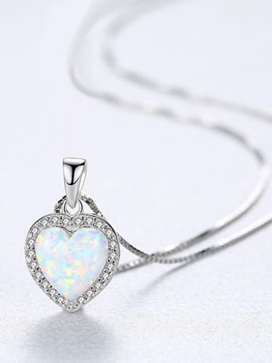 White 20f06 925 Sterling Silver Opal Multi Color heart Necklace