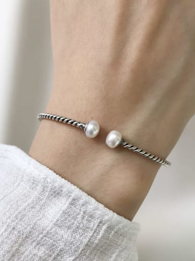 925 Sterling Silver Imitation Pearl White Ball Vintage Cuff Bangle